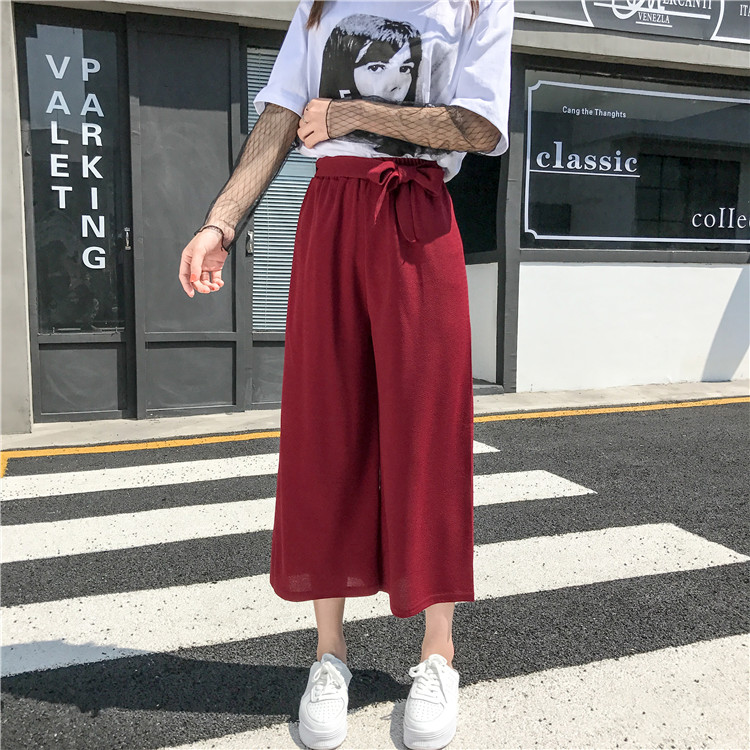 19 Women Casual Loose Wide Leg Pant Womens Elegant Fashion Preppy Style Trousers Female Pure Color Females New Palazzo Pants 66