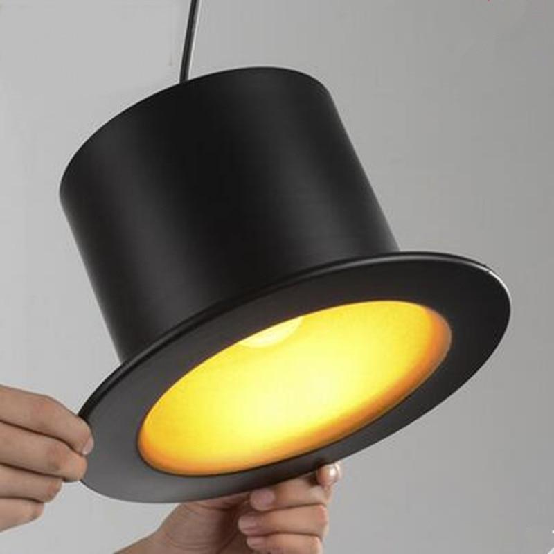 restaurant bar clothing store decorative lighting pendant lamps creative black hat living room Gentleman hat pendant lights za цена