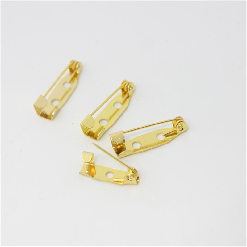100pcs15mm20mm Gold Safety Lock Back Bar Pin DIY Brooch Base Dual Brooch Back Base with Safety Pin Use for Hair Jewelry