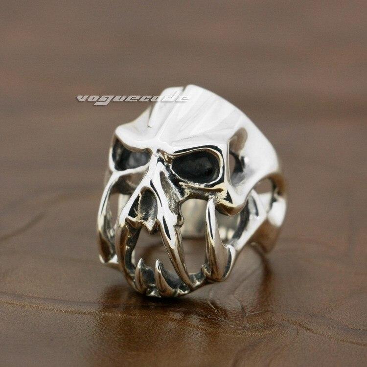 925 Sterling Silver Devil Alien Skull Tiger Tooth Mens Biker Ring 8V004 devil skull alloy biker ring