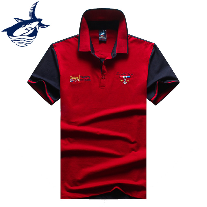 Brand clothing tace shark polo men classic solid color for Polo brand polo shirts