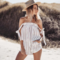 Shorts Rompers Womens Jumpsuits Summer Ladies Sexy Slash Neck Short Sleeve Casual Striped Jumpsuit Beach Overall E572