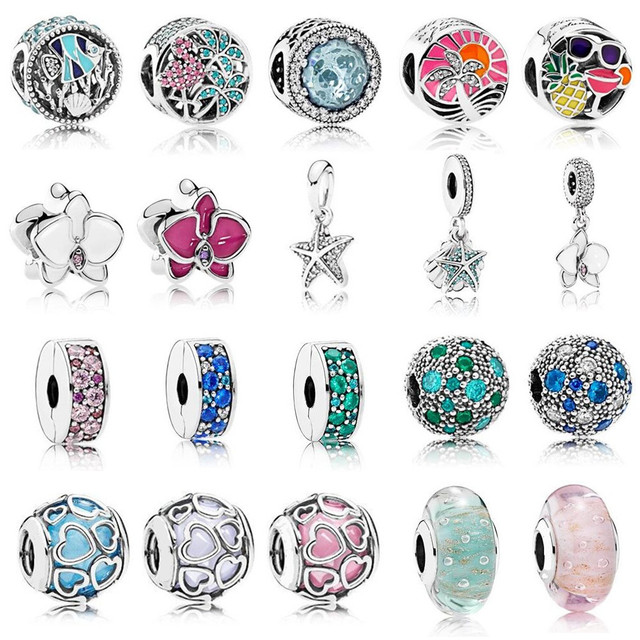 2017 Summer Colorful Enamel Charm Beads 925 Sterling Silver Clip & Dangle Bead fit for  Bracelet DIY Jewelry Accessories.