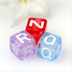 Image 3 - Letter Beads Transparent Colorful Beads 10MM 550pcs Acrylic Beads Square Beads Mix A Z Alphabet Beads for Jewelry making