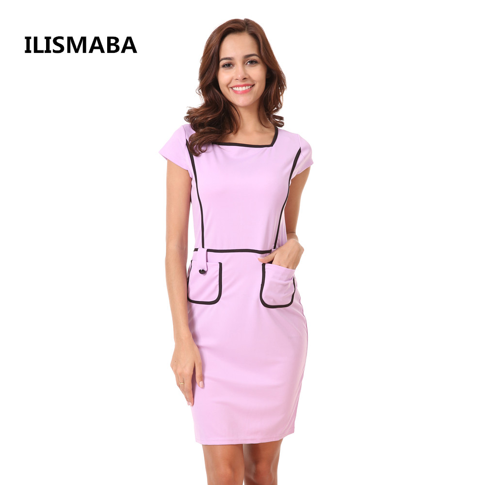 ILISMABA 2018 summer ladies fashion sexy short-sleeved dress solid color pocket stitching hit color knitted fabrics women brand ilismaba new ladies fashion sexy autumn long sleeved brand dresses high quality printed knitted elastic fabric women s dress