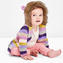 Winter Warm Newborn Baby Sweater Fur Hood Detachable Grey Infant Boys Girl Knitted Cardigan Fall Outwear Children Knitwear 0-24M
