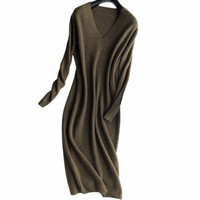 100 Goat Cashmere Knit Women Fashion Long Pullover Sweater Dress Vneck Over Knees S 2XL Wholesale