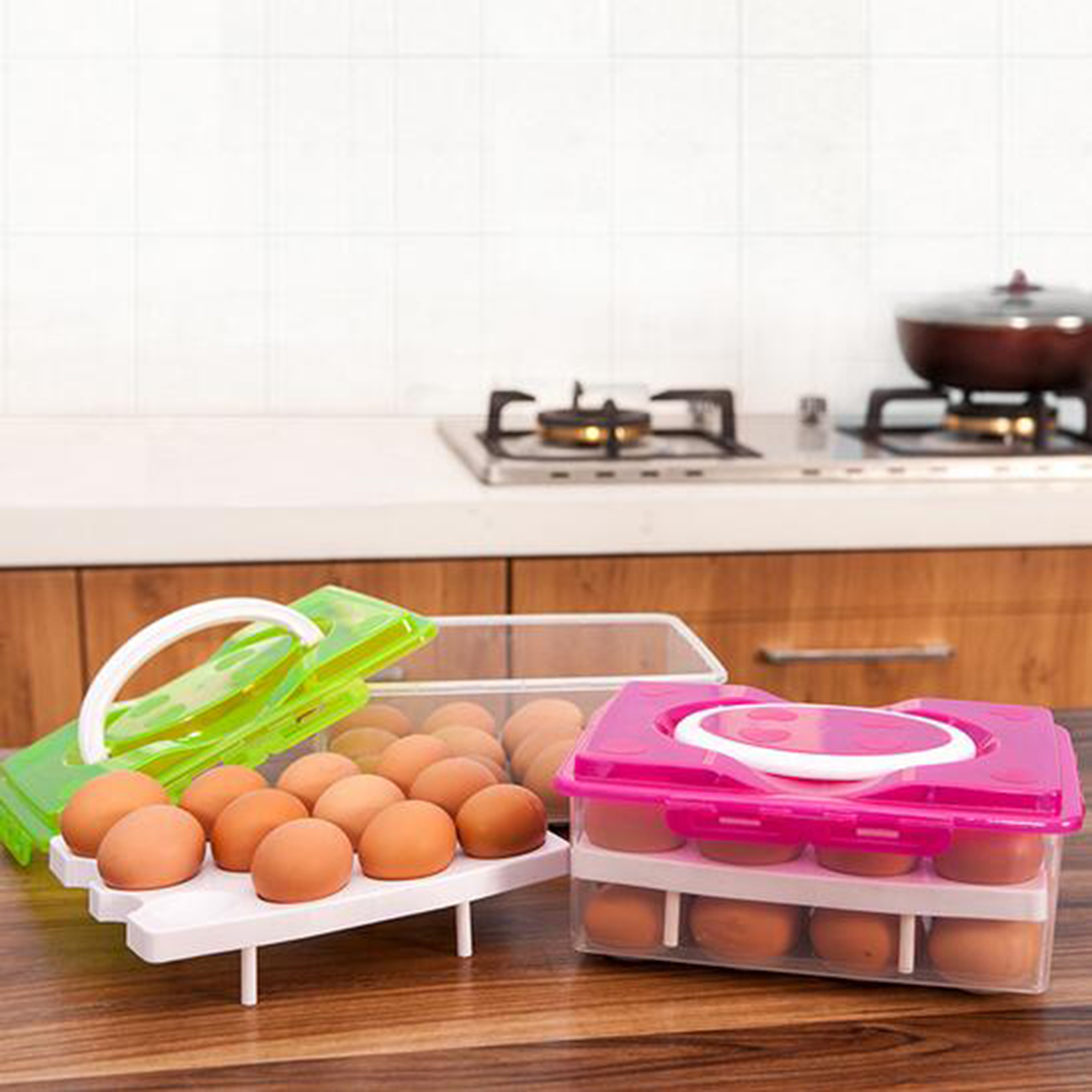 24 Grid Egg Food Container Organizer Convenient Storage Boxes Box Double Layer Durable Multifunctional Crisper Kitchen Products