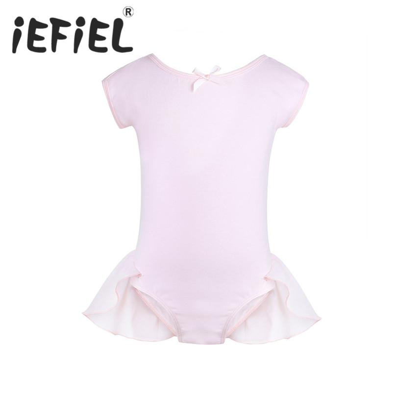 iEFiEL Children Girls Gymnastic Ballet Leotard Tutu Dance Dress Short Sleeve Kids Princess Ballerina Fairy Fancy Party Dancewear