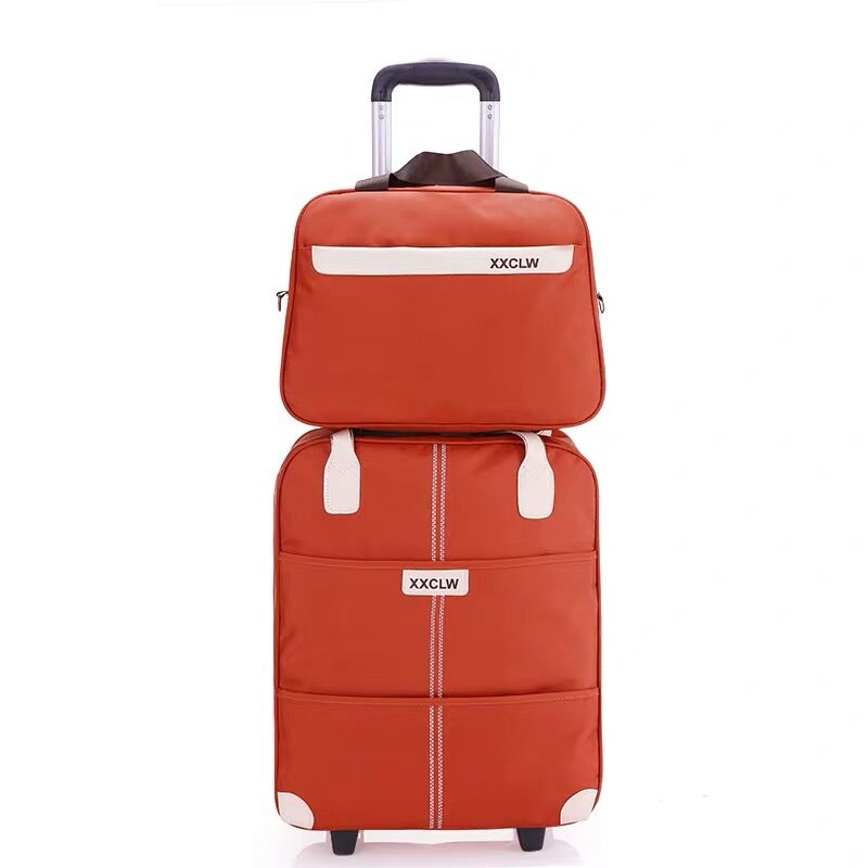 Kobiety proste bagaż podręczny z serii 18 20 cal Oxford tkaniny torebka i toczenia walizki na bagaż przenoszenia na marki torba podróżna wózek walizka w Zestawy bagażowe od Bagaże i torby na  Grupa 1