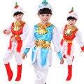 5 шт./лот Бесплатная Доставка Китайский Монгольском Стиле Дети Танцуют Одежда Народный Танец Костюм Ребенок Мальчики Девочки Этап Бальные Танцевальная Одежда