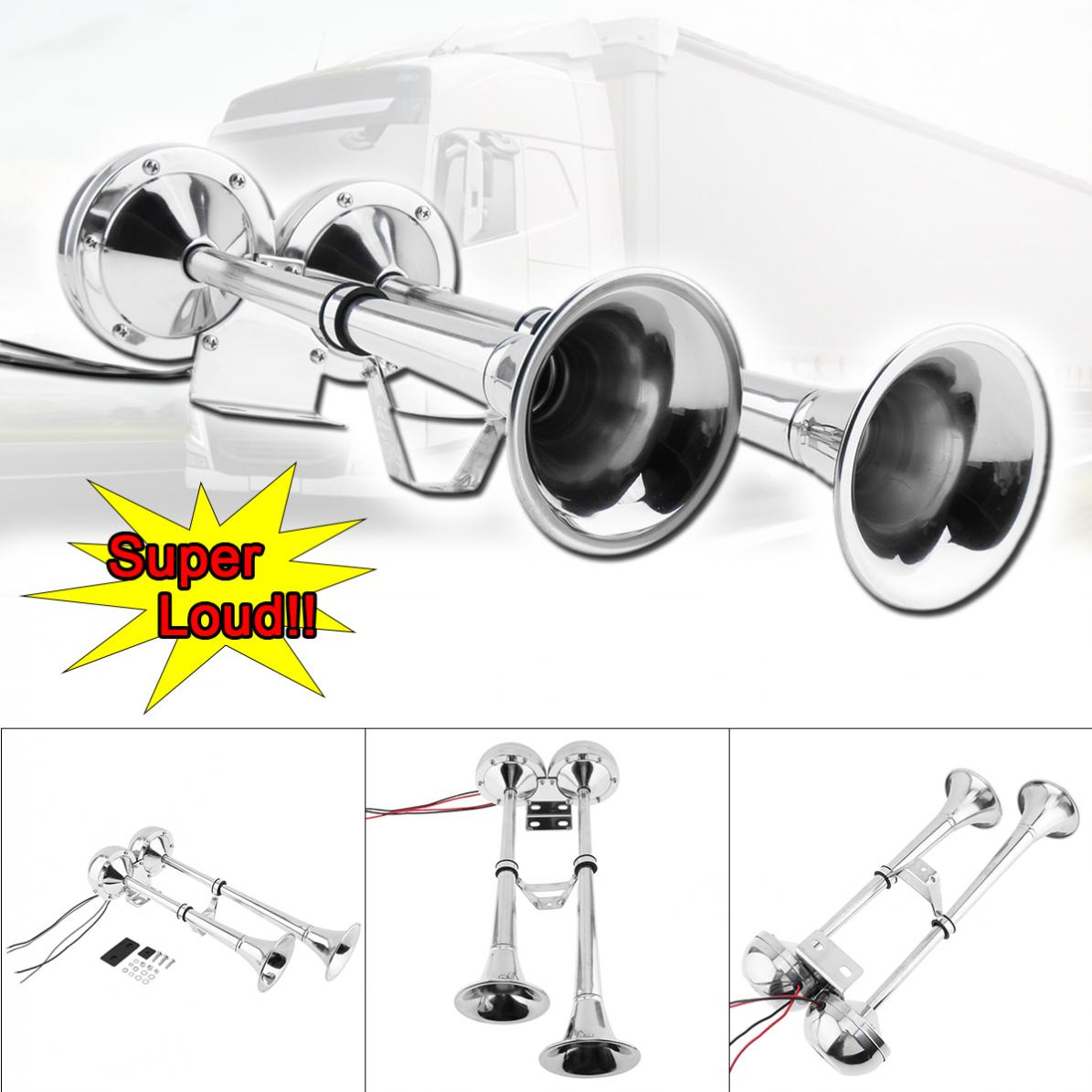 12V 24 V 100 115 DB Electrical Super Noisy Dual Car Trumpet Air Horn Waterproof Dustproof