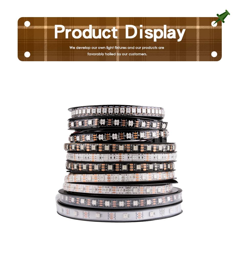 HTB1ZbHPXBWD3KVjSZFsq6AqkpXaV WS2812B LED Strip DC 5V Black White PCB Smart Addressable Pixel WS2812 IC 30/60/144 LEDs 17Key Bar RGB 50CM 1M 2M 3M 4M 5M