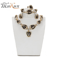 SHILU Fashion Jewelry Sets For Women Crystal Necklace Earrings Set African Beads Gold Plated Flower Wedding