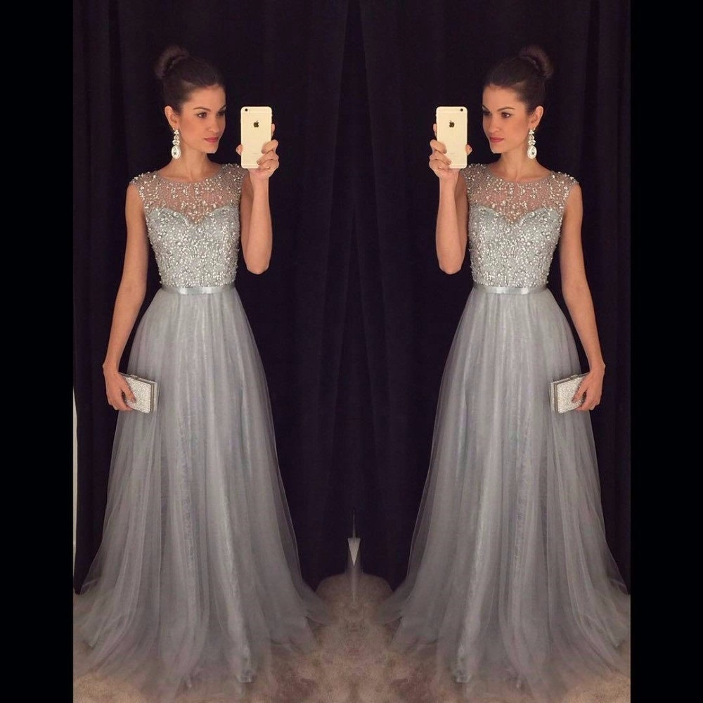 Wedding Dresses Evening Gowns: Vestido De Festa Long Prom Dress 2017 Gray Aline Evening