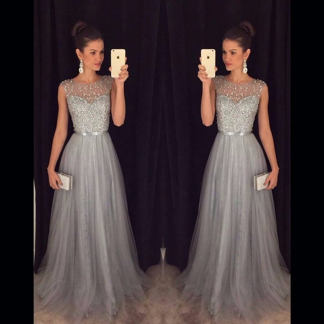8ddeca73ddc Vestido de Festa Long Prom Dress 2017 Gray Aline Evening Gowns Tulle Beaded  Wedding Party Dress Robe de soiree Abendkleider