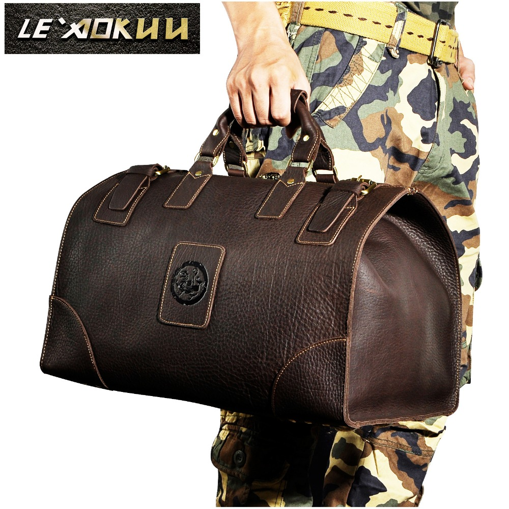 Crazy horse leather Man Large Capacity Retro Design Travel Luggage bag Duffle Bag Male Fashion Suitcase Tote Handbag 8151