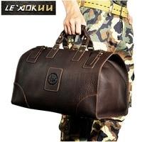 Crazy horse leather Man Large Capacity Retro Design Travel Luggage bag Duffle Bag Male Fashion Suitcase Tote Handbag 8151