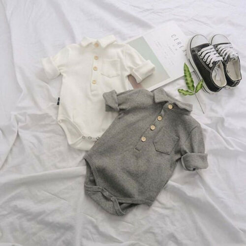 2019 Baby Boy Summer Clothing Formal Cotton Romper Jumpsuit Outfit For Kid Clothes Toddler Children Newborn Infant Gary White