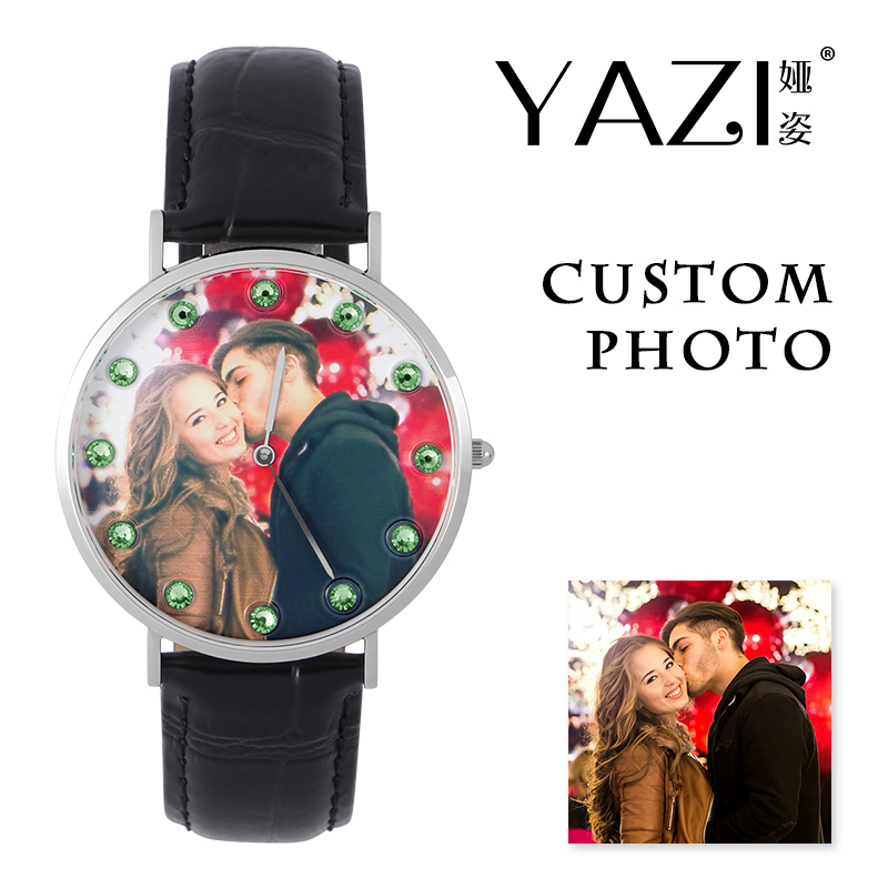 YAZI Personal Custom Photo Watch Picture Print In Dial Wrist Watch For Men And Women Birthstone Scale Waterproof Quartz Watches
