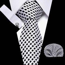Men Extra Long Tie Check 3  Silk Fashion Mens Handkerchief Polka Dot Necktie Pocket Square Classic Party Wedding Set