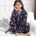 Primavera e no outono mulheres treino ocasional terno de algodão longo-sleeved pijamas das mulheres dos desenhos animados urso bonito padrão pijamas mujer inverno
