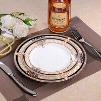 Europe Porcelain Plate Restaurant Western Dish Steak Plates bone china Dinner Flat Plate Set [2 Dishes+1Placemat +1fork+1knife]