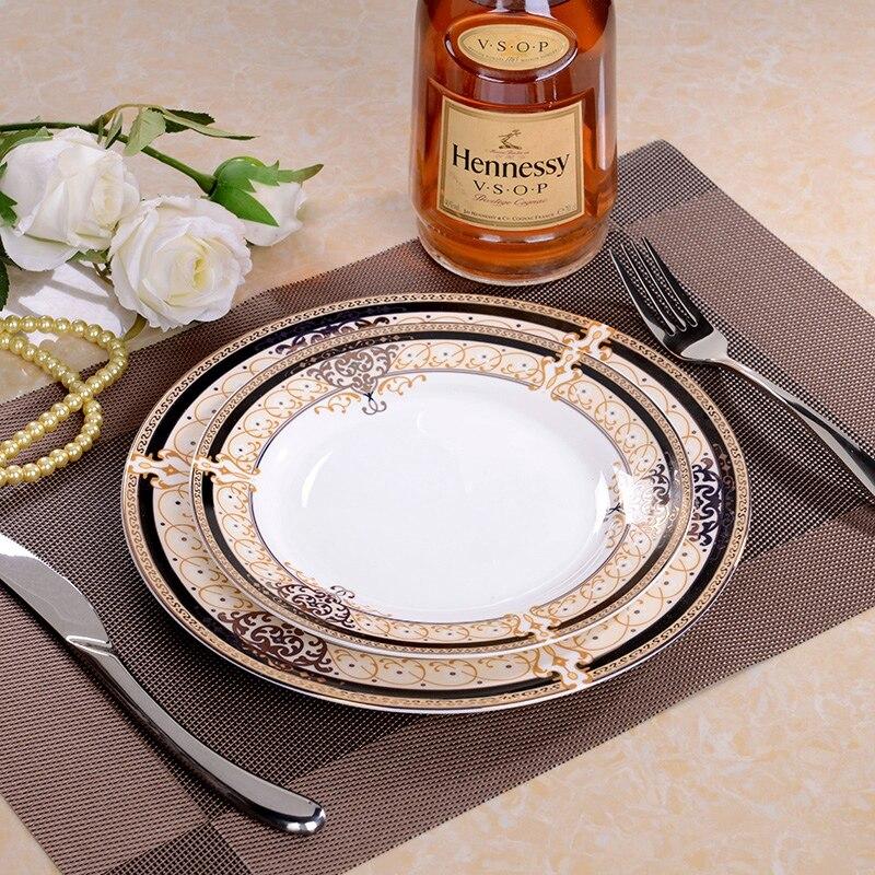 Europe assiette en porcelaine Restaurant plat occidental assiettes à Steak os chine dîner assiette Plate ensemble [2 plats + 1 napperon + 1 fourchette + 1 couteau]