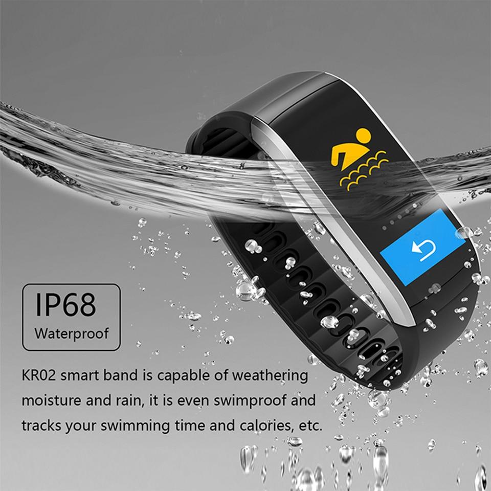 b01ffcc479ca LEMFO KR02 pulsera GPS IP67 impermeable Fitness Smart Band Monitor de ritmo  cardíaco actividad Tracker reloj para IOS teléfono Android en Pulseras ...
