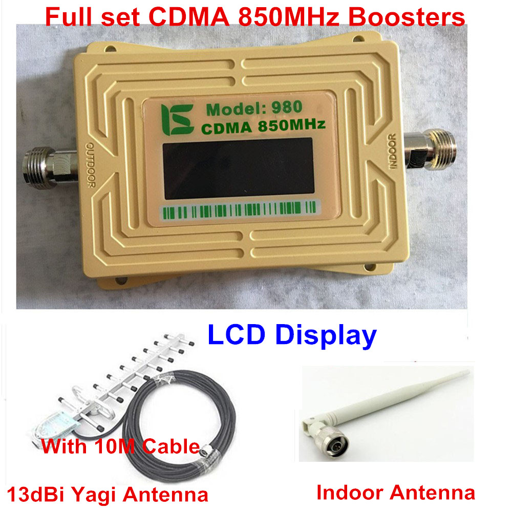 Full Set LCD Screen GSM CDMA 850 Mhz 850MHz Repeater Booster Cell Phone Mobile Signal Repeater Amplifier & Yagi Antenna
