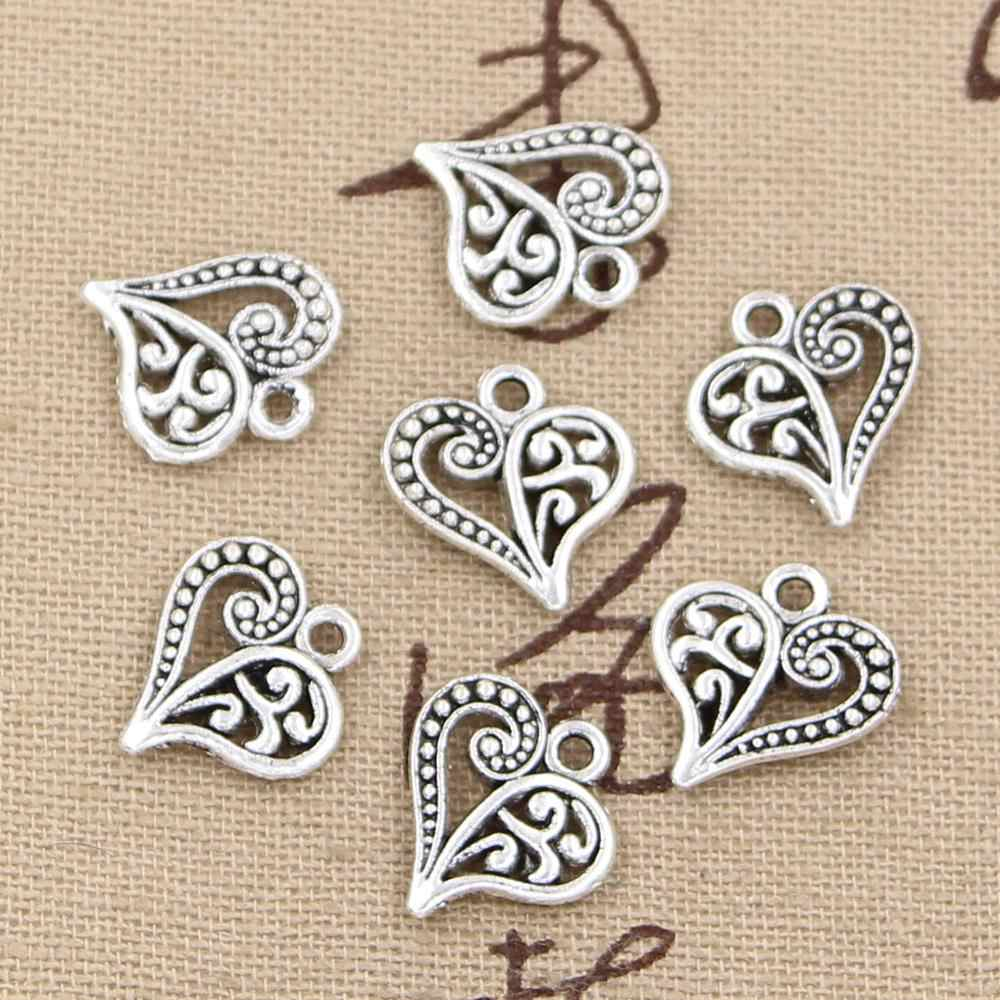 30pcs Charms hollow lovely heart 15x14mm handmade Craft pendant making fit,Vintage Tibetan Silver,DIY for bracelet necklace