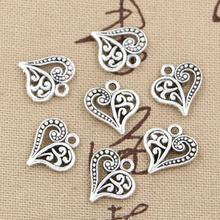 30pcs Charms Hollow Lovely Heart 15x14mm Handmade Craft Pendant Making fit Vintage Tibetan Bronze Silver color DIY For Necklace cheap eunwol Zinc Alloy Fashion charter Metal Hearts