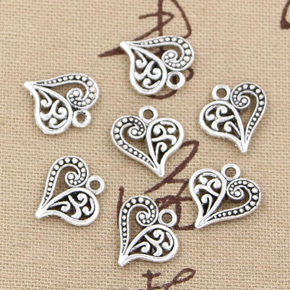 30pcs Charms hollow lovely heart 15*14mm Antique,Zinc alloy pendant fit,Vintage Tibetan Silver,DIY for bracelet necklace