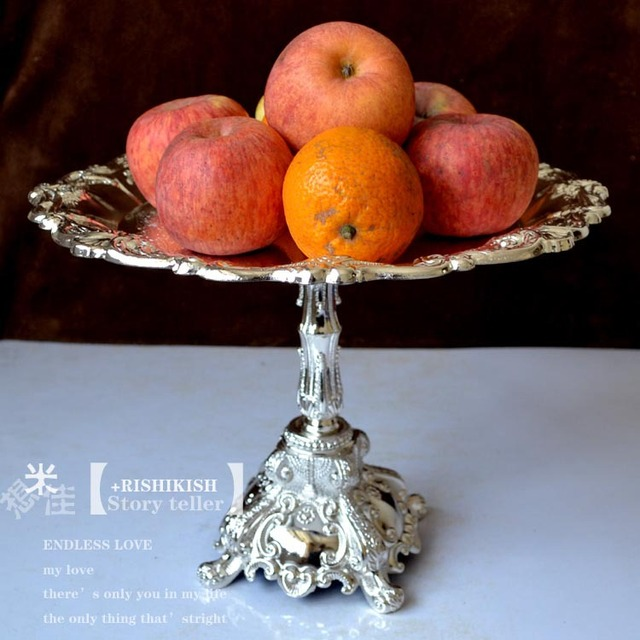 33cm Round Zinc Alloy Metal Dining Cake Stand Fruit Pastry Bread