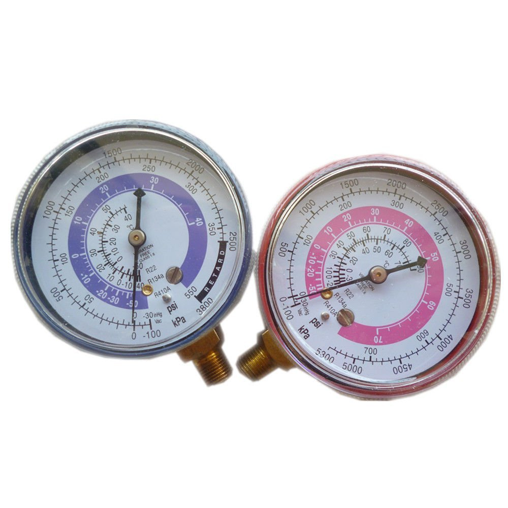 2 pics Cae Air Conditioner R410A R134A R22 High and Low Pressure Gauge Refrigerant Brass Manifold Gauge PSI KPA