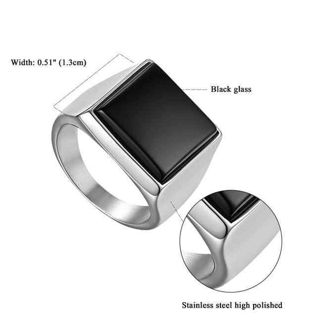 brixini.com - Simple Atmospheric Polished Stainless Steel Party Ring