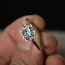 Ring for women Sterling 925 Silver white topaz Simulated Diamonds Ring March Birthstone Ring jewelry