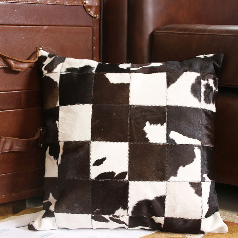 Hand Made Real Cow Leather Throw For Furniture Upholstery 45*45cm American Style Cowhide Skin Fur Pillow Cushion With Core ,