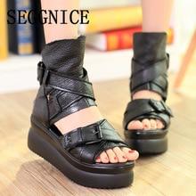 Plus Size Genuine Leather For Women Shoes Flats Platform Shoes Casual 2019 Spring Summer Women's Sandals Leather Flats Shoes недорого