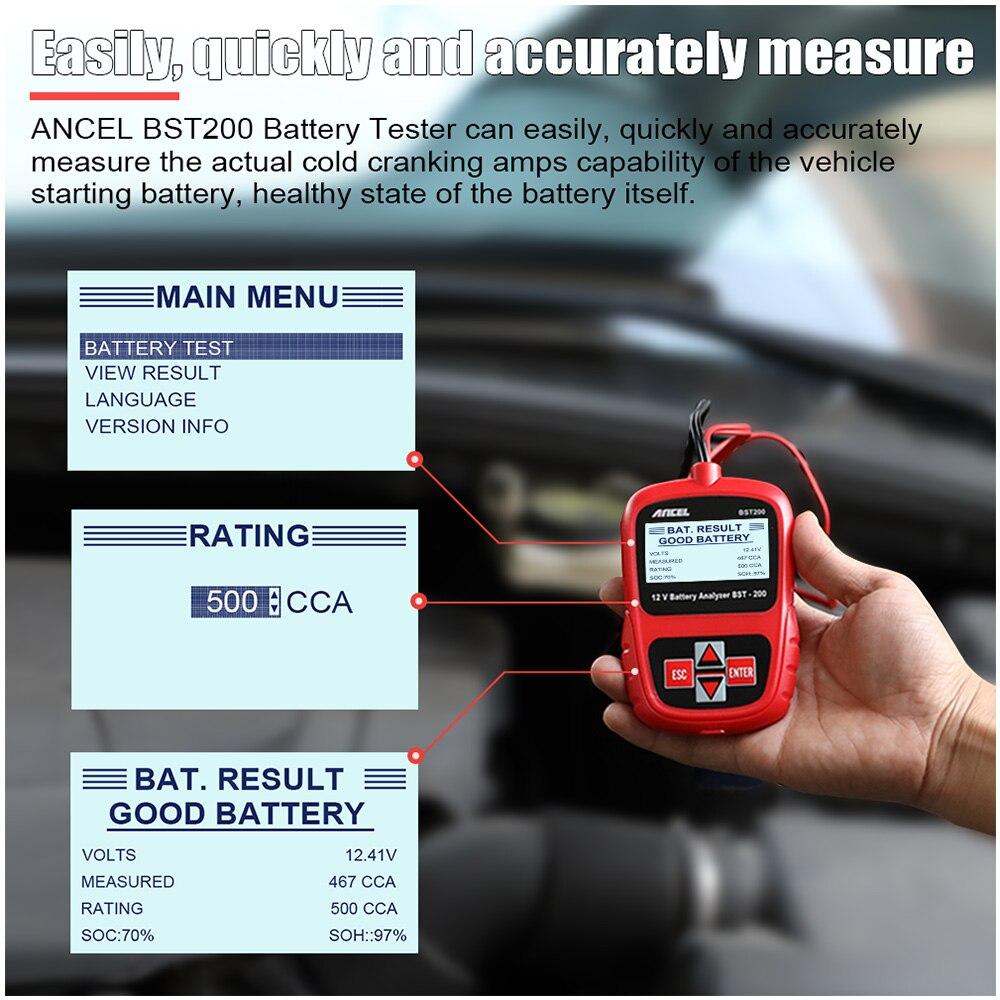 ANCEL Bst200 Voiture testeur de batteries Multi-langue 12 V 1100CCA système de batterie Détecter Automobile De Voiture Mauvais Cellulaire Batterie Outil De Diagnostic - 2