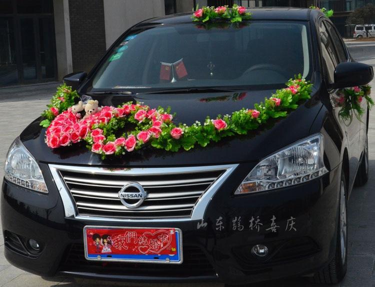 2017 neue Kunstseide Rose Blumen Hochzeit Auto Dekoration Set Mit - Partyartikel und Dekoration - Foto 5
