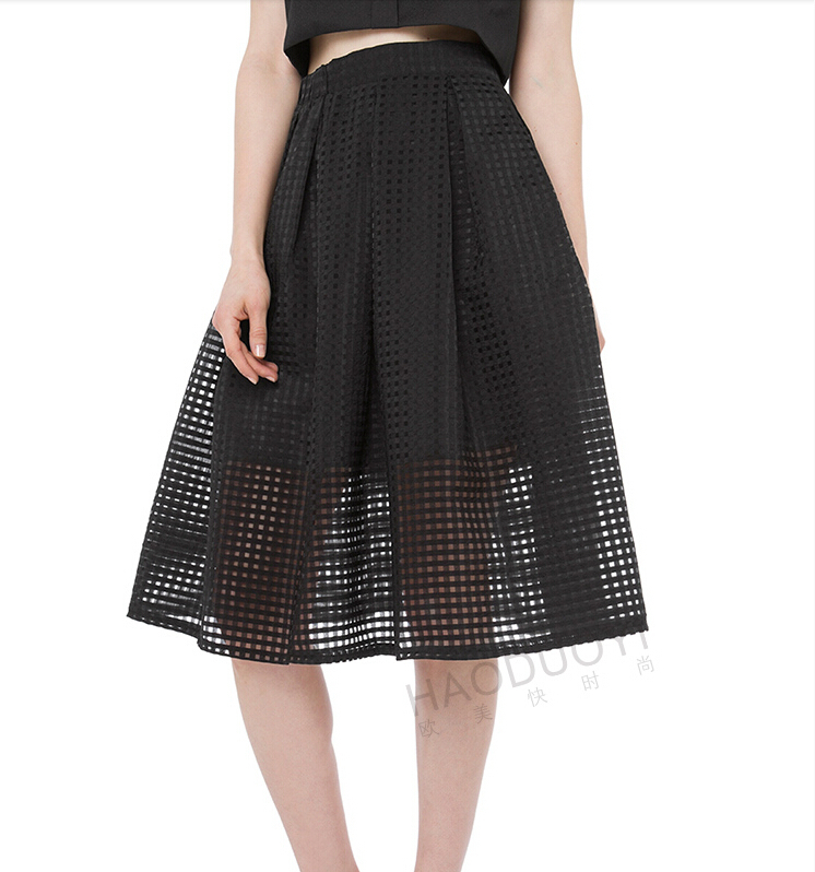 A Line Skirt Double Layer Bubble Skirt Solid Plain Color Black ...