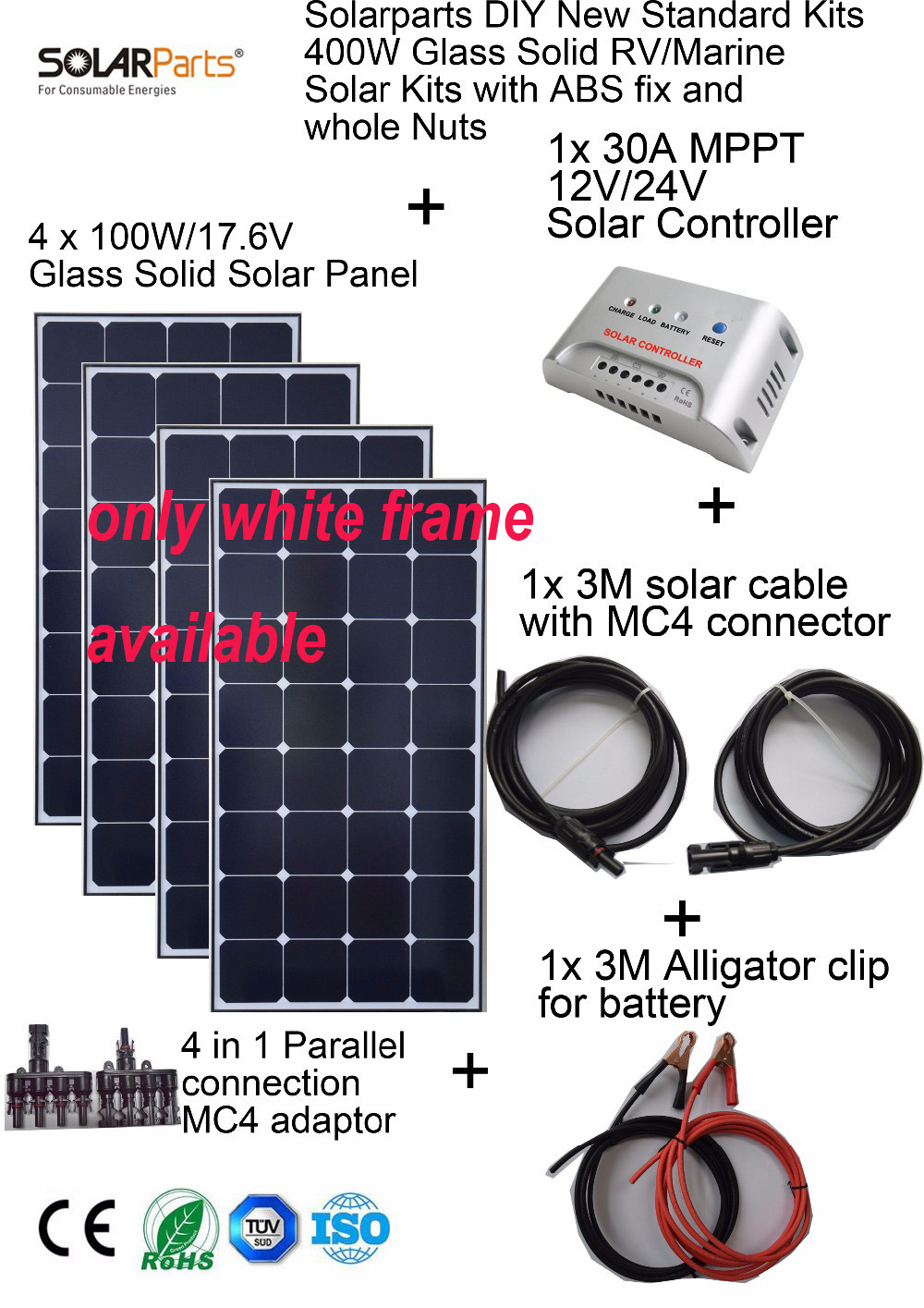 Solarparts 4x100W Monocrystalline Solar Module Sunpower LED light outdoor solar panel cell system DIY kits RV marine home camp .