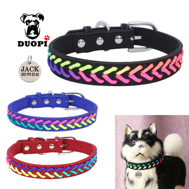 dog collar colorful rope braided custom pet collars free lettering