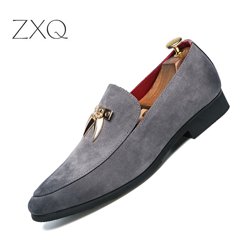 ZXQ Pointed Toe Tassel Formal Leather Men Shoes Luxury Brand Italian Slip On Male Footwear Designer Spring Oxford Shoes For Men cangma british style leather pointed shoes tassel casual men handmade designer leisure slip on shoes 2017 male sapato masculinos