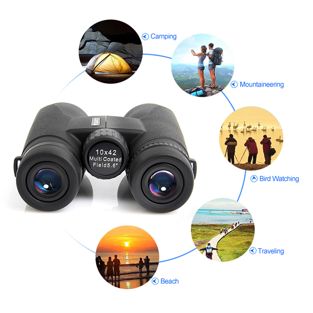 12x42 High Magnification Zoom Binoculars Telescope with High Definition Low Light Handheld Telescopes for Travelling Hunting