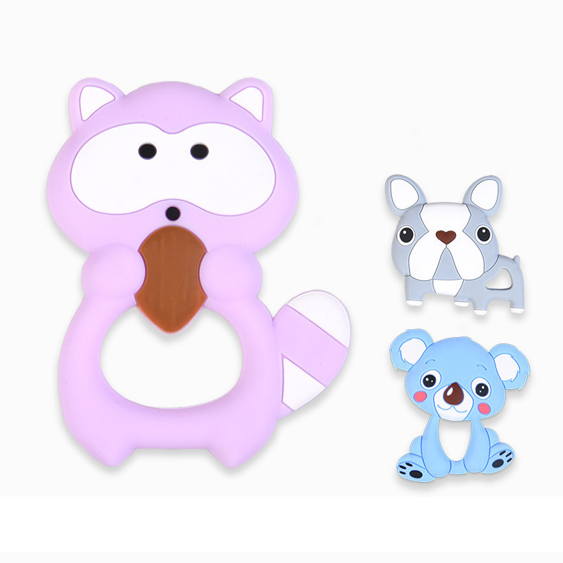 Food Grade Silicone Teether Beads For Baby Teething Raccoon Necklace Pendant Newborn   Molars Toys 1Pcs