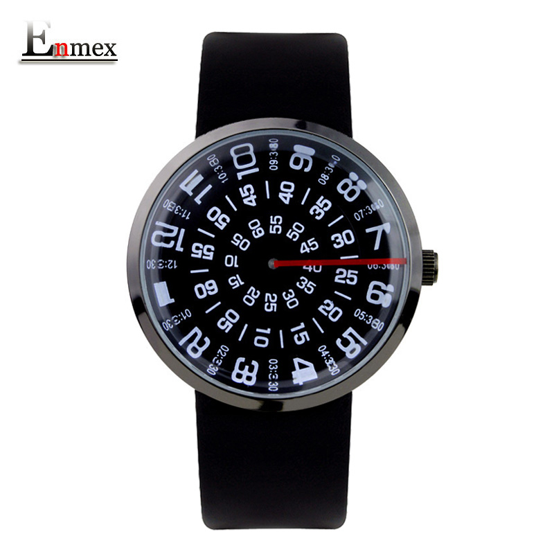 2017 men's gift Enmex men digital hands wristwatch waterproof   creative handsome red line mark gentleman fashion quartz watches 2017 gift enmex special design wristwatch creative dial changing patterns simple fashion for young peoples quartz watches