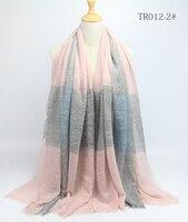 180x100cm Women Cotton Bubble Wrinkle Hijab Scarf Plaid Print Fringes Popular Muslim Muffler Shawls Wraps Large