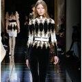 EXCELLENT QUALITY Newest 2017 PARIS BARACCO Designer Top Women's Long Sleeve Heavy Beading Back Zip Tee Shirt